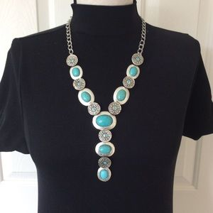 Boho Faux Turquoise Silver Cabochon Drop Necklace